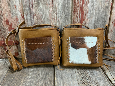 Cowhide Stitched Flap Crossbody Purse