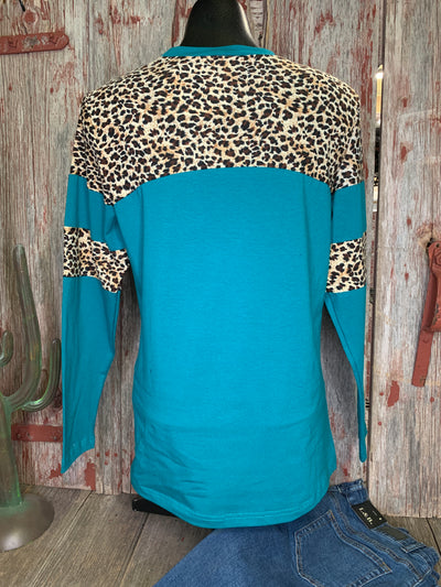 Turquoise & Leopard Long Sleeve Shirt