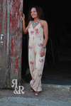 Cow Skull & Flowers Jumpsuit - Ropes and Rhinestones