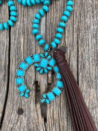 Turquoise & Naja Leather Tassel Necklace