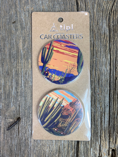 Cactus Sunset Car Coaster Set