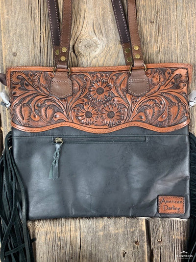 Tooled Leather Cowhide & Fringe Purse