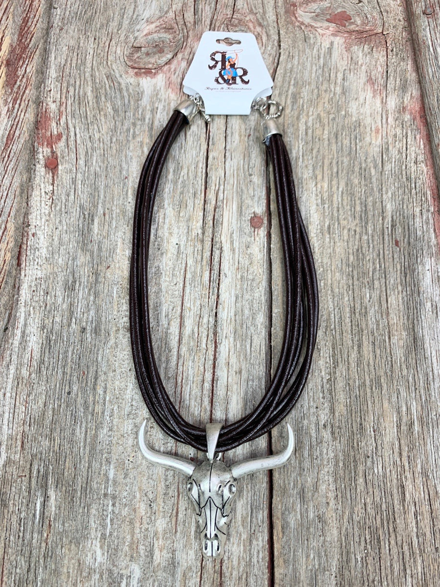 Cow Skull Multi Strand Leather Necklace