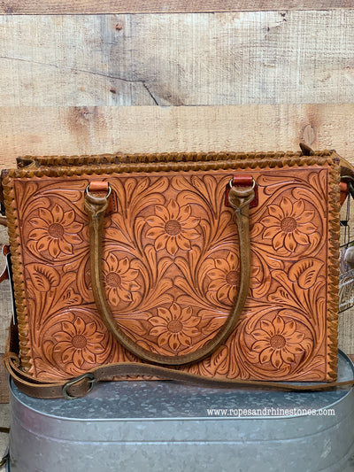 Working Cowgirl Tooled Leather Tote