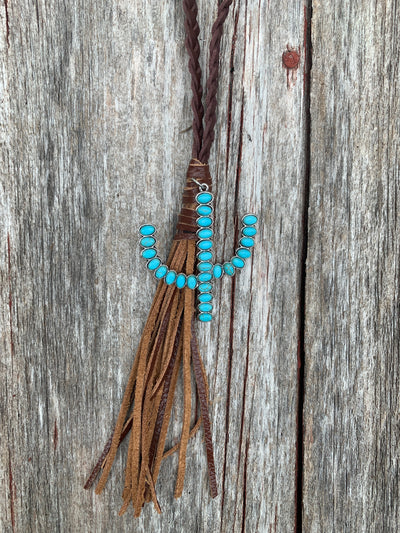 Leather Braided Cactus Necklace