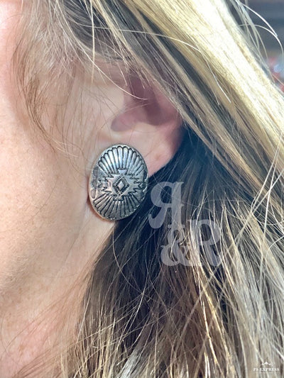 Aztec Oval Clip On Earrings