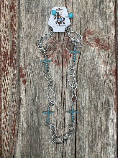 Turquoise Cross Chain Necklace Set