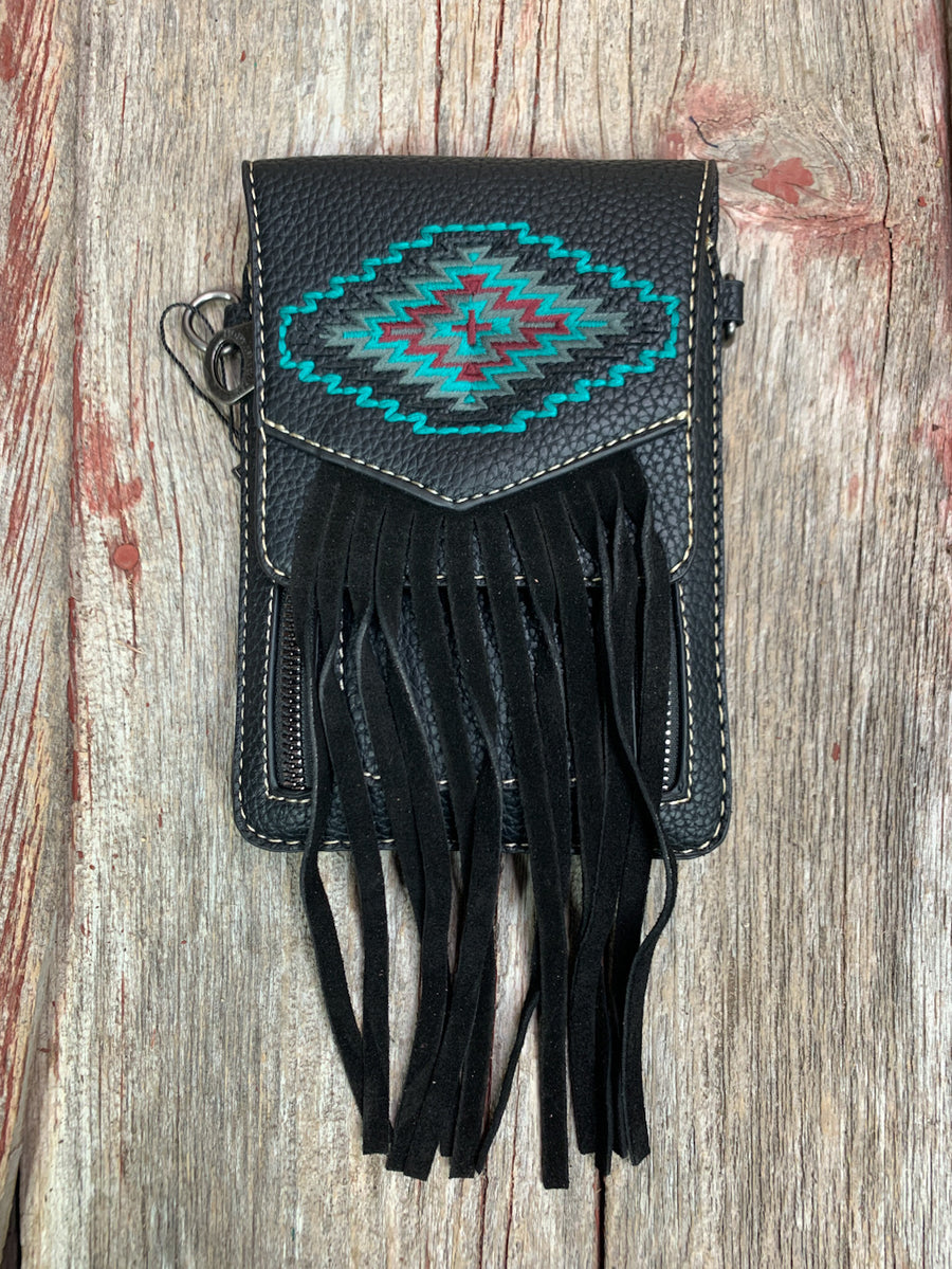 Aztec Embroidered Cross Body Phone Wallet