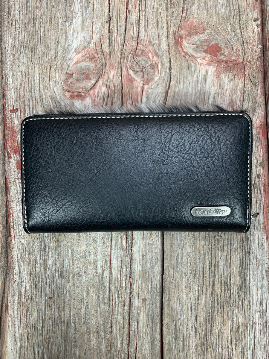 Tooled & Cowhide Feather Charm Wallet