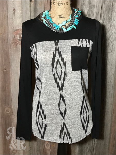 Aztec Pocket Top - Ropes and Rhinestones