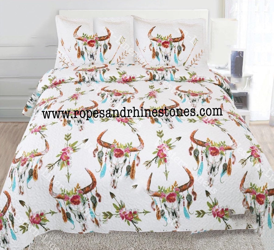Cow Skull & Feathers Bedding