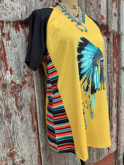 Native American Headdress Serape Top