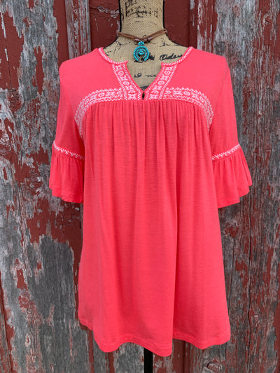 Coral Embroidered V Neck Top