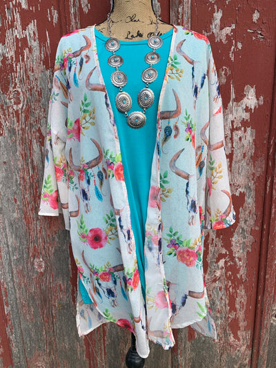 Cow Skull & Floral Sheer Kimono - Ropes and Rhinestones