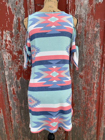 Aztec Cold Shoulder Tie Dress - Ropes and Rhinestones