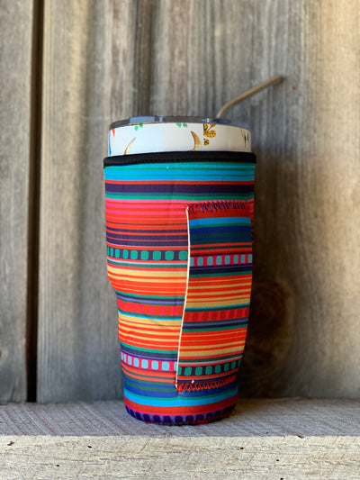 Cup Koozie With Handle Ropes And Rhinestones
