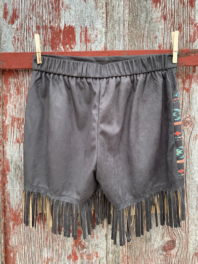 Black Aztec Fringe Shorts
