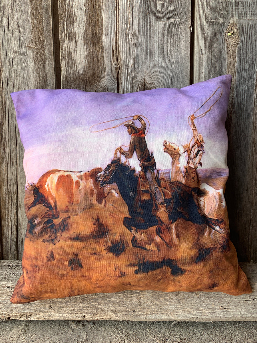 Roping Cowboys Pillow Cover