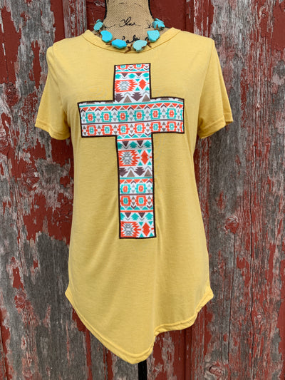 Aztec Cross Patch Tee - Ropes and Rhinestones