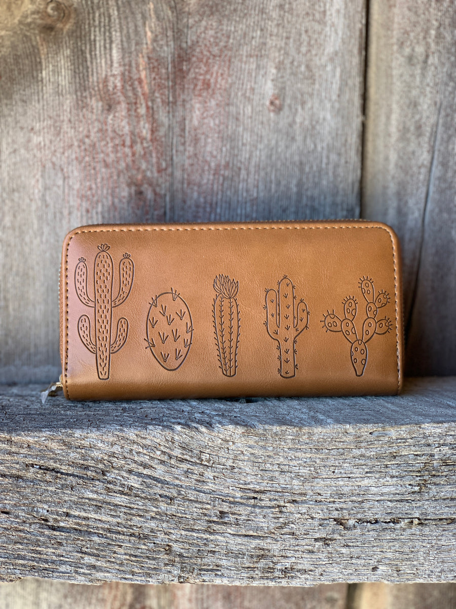 Cactus Zip Wallet Brown - Ropes and Rhinestones