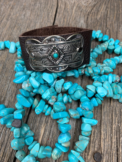 Leather Arrow Concho Bracelet