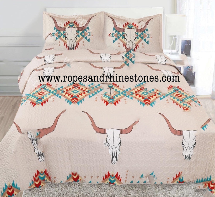 Cow Skull Aztec Bedding