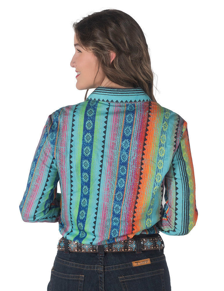 Rainbow Aztec Print Pullover Button Up