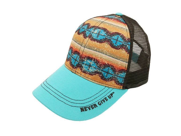 Cowgirl Tuff Turquoise Aztec Never Give Up Cap