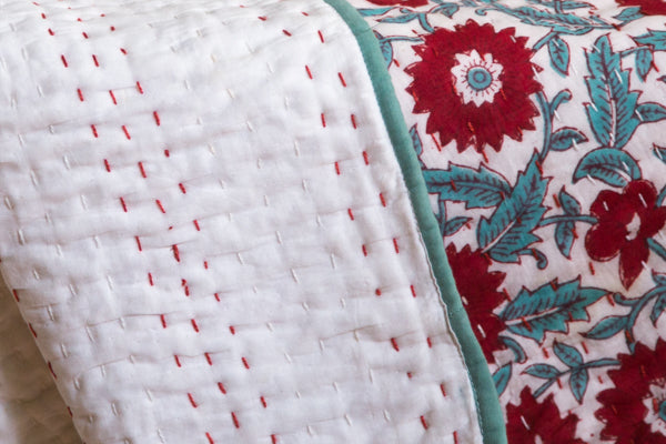 Red Zinnia Baby Blanket