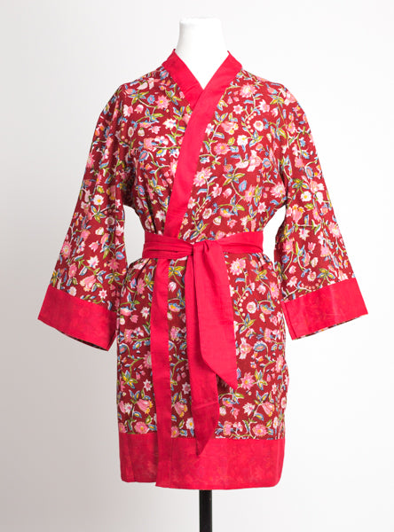 Ruby Floral Short Robe