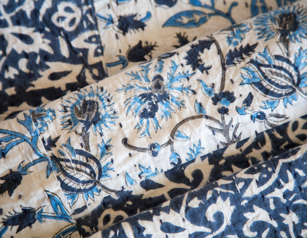 White and Blue Patchwork - Queen