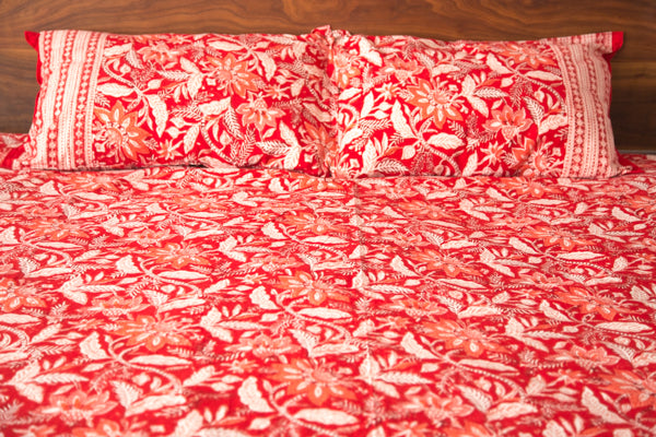 Red Floral Duvet Set