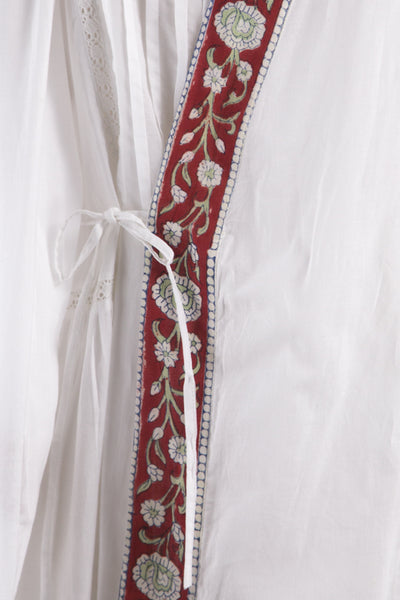 Red Trim Nightgown and Robe Set