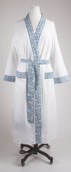 Grey Trim Nightgown and Robe Set