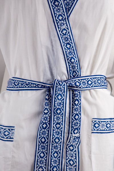 Blue Trim Nightgown and Robe Set