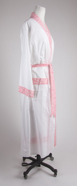 Pink Trim Nightgown and Robe Set