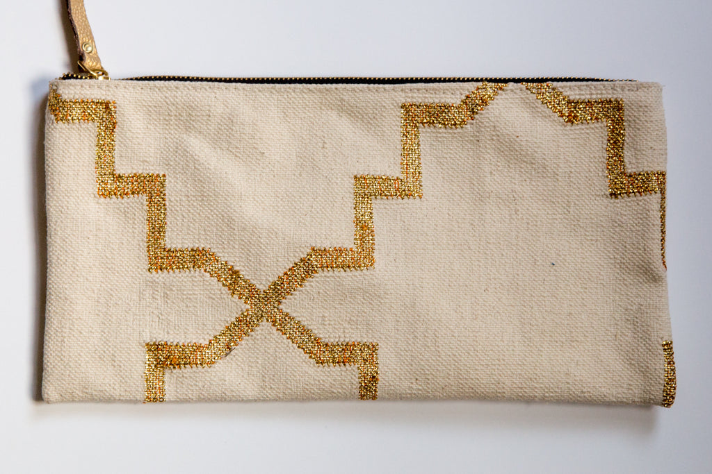 Natural and Metallic Gold Dhurrie Clutch