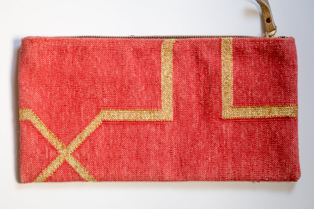 Red and Metallic Gold Dhurrie Clutch