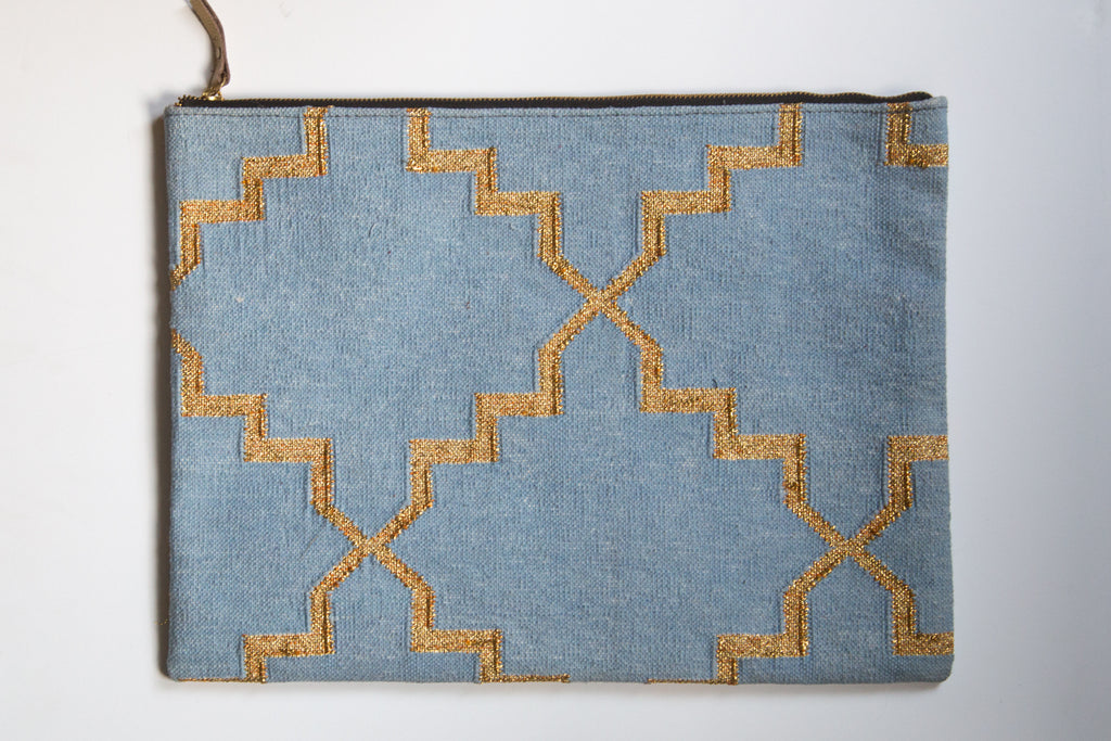 Light Blue and Metallic Gold Laptop Sleeve