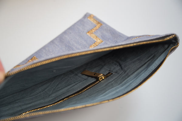 Light Blue and Metallic Gold Dhurrie Clutch