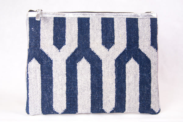 Navy and Metallic Silver iPad Sleeve