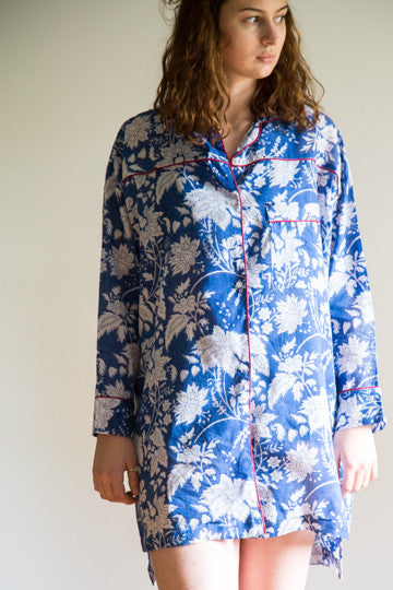 Night Shirt - Blue leaf