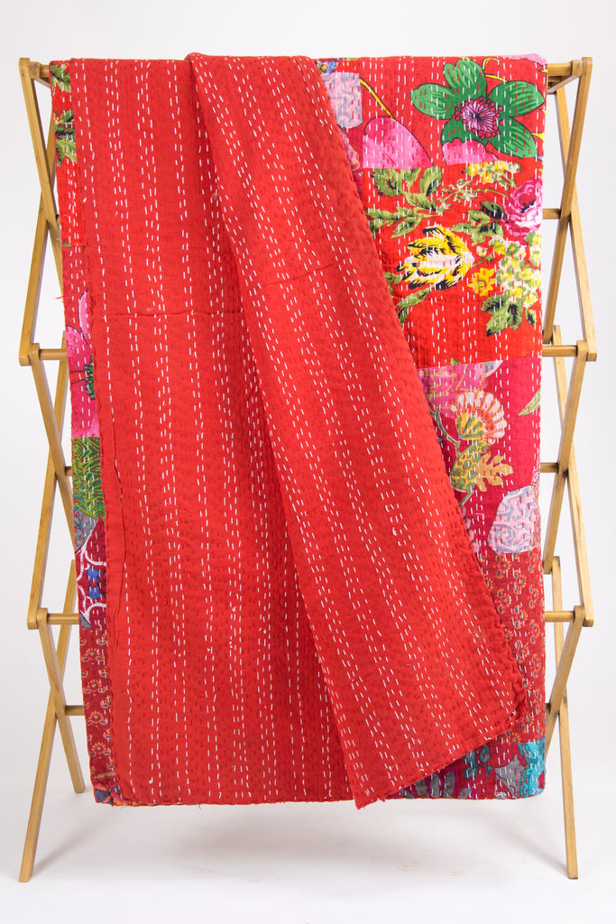 Red Patchwork Kantha