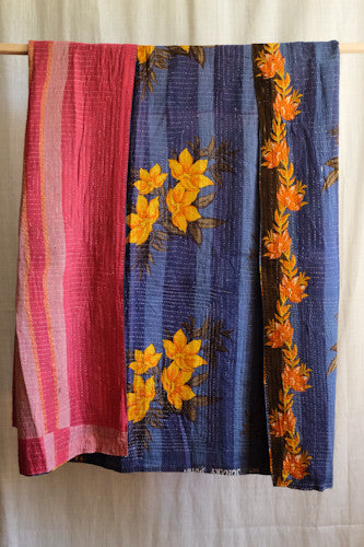 Vintage Saree Kantha Throw - Blue, yellow and red