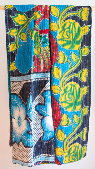 Vintage Kantha Throw - Blue Flower