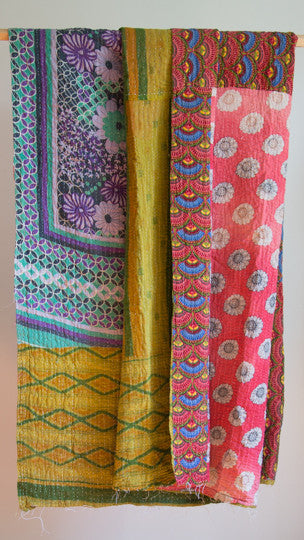Vintage Kantha Throw - Pink flowers