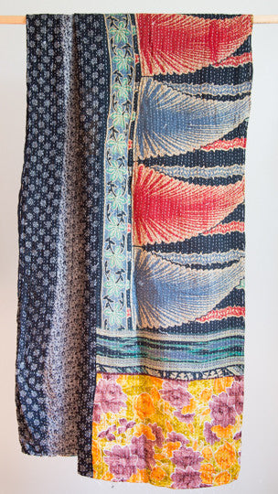 Vintage Kantha Throw - Blue Leaf