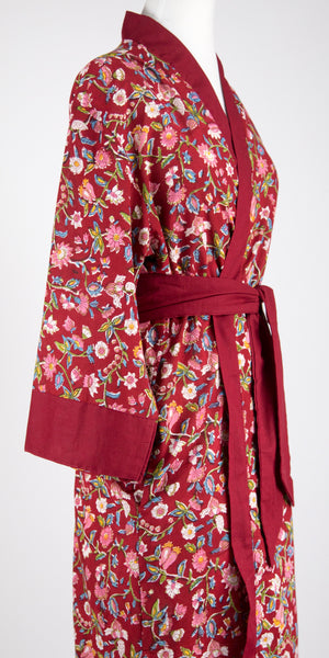 Ruby Floral Long Robe