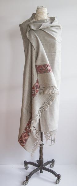 Light Grey Yak Wool Shawl