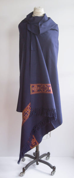 Navy Yak Wool Shawl